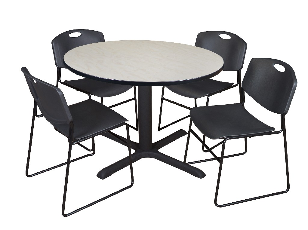 Regency Round Breakroom Table Maple Zeng Stack Chairs Black