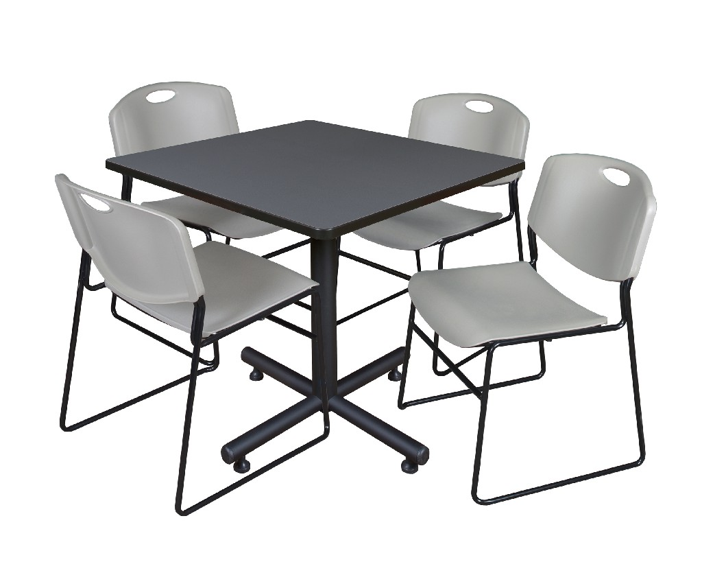 Regency Square Breakroom Table Grey Zeng Stack Chairs Grey