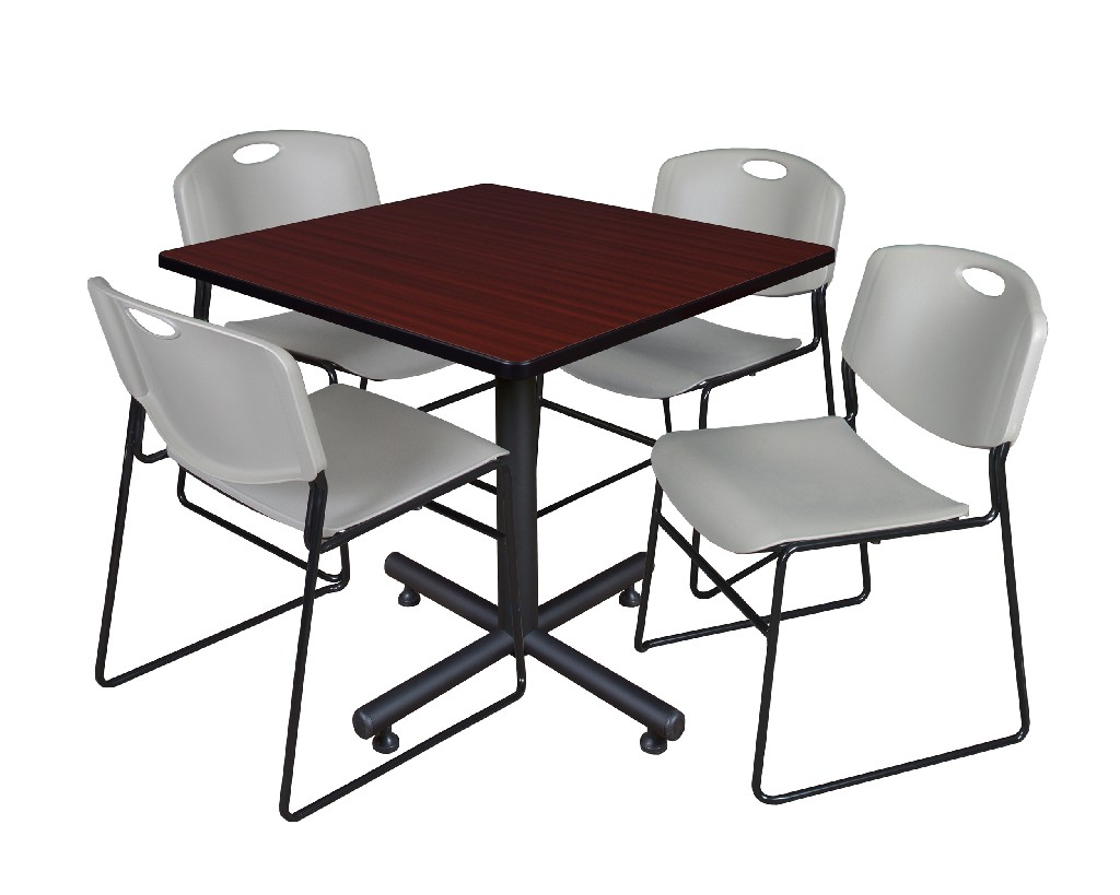 Regency Square Breakroom Table Mahogany Zeng Stack Chairs Grey