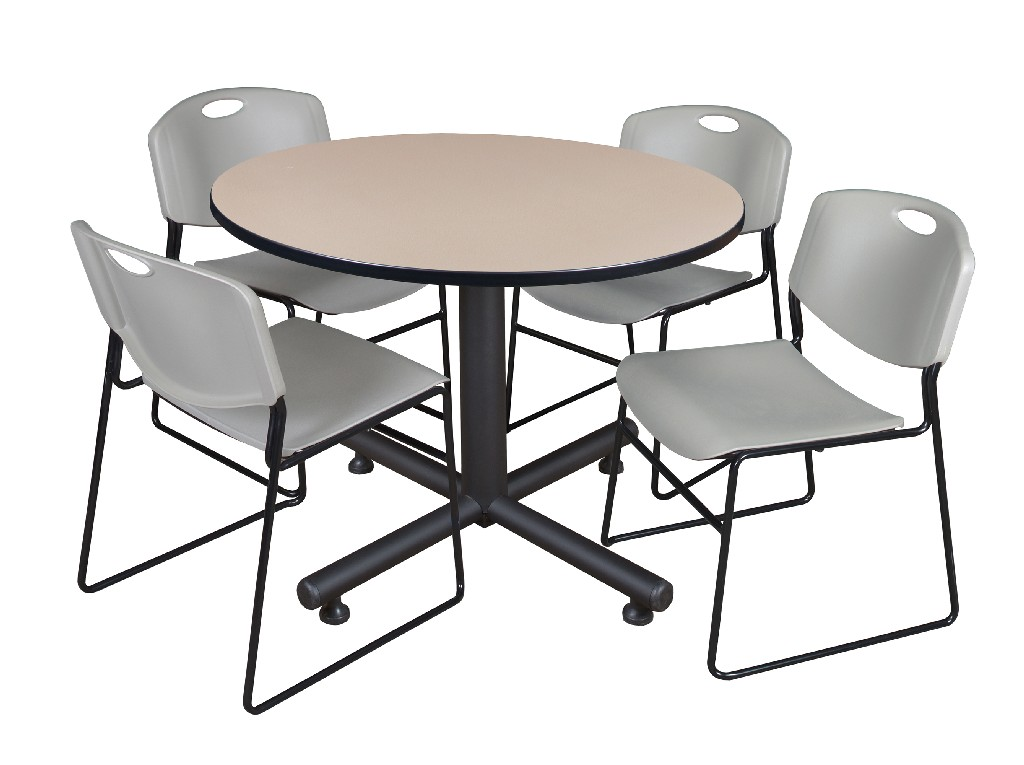 Regency Round Breakroom Table Beige Zeng Stack Chairs Grey
