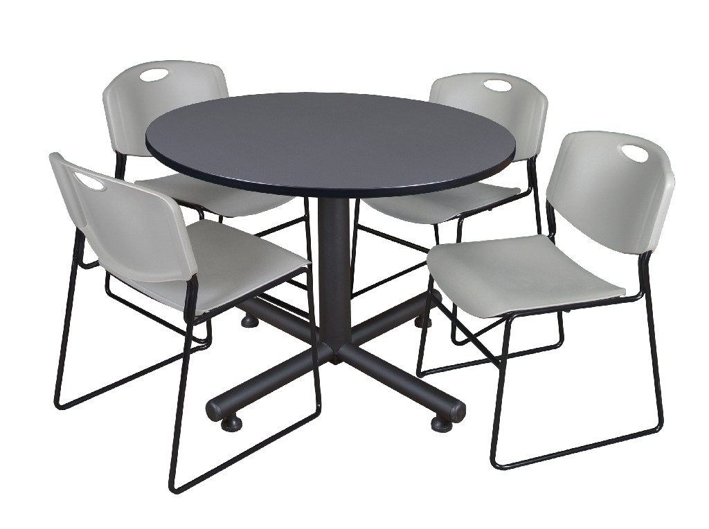 Regency Round Breakroom Table Grey Zeng Stack Chairs Grey