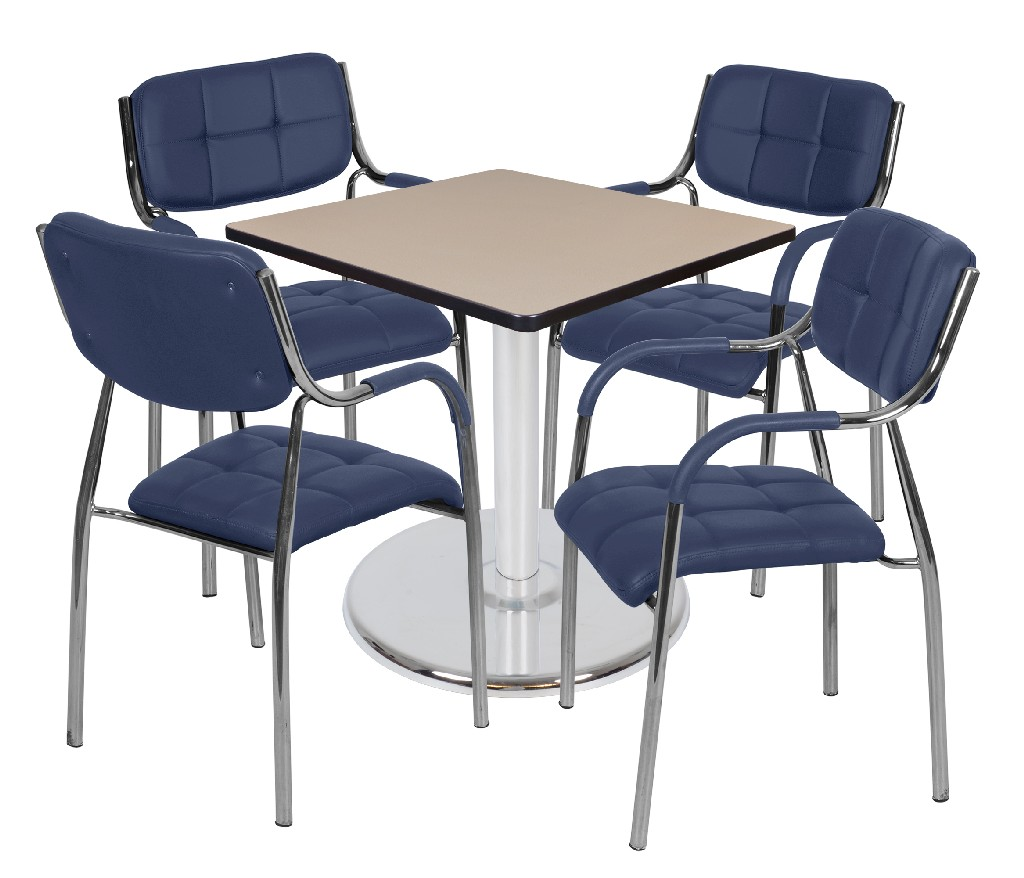 Regency Square Platter Base Table Beige Chrome Uptown Side Chairs Navy