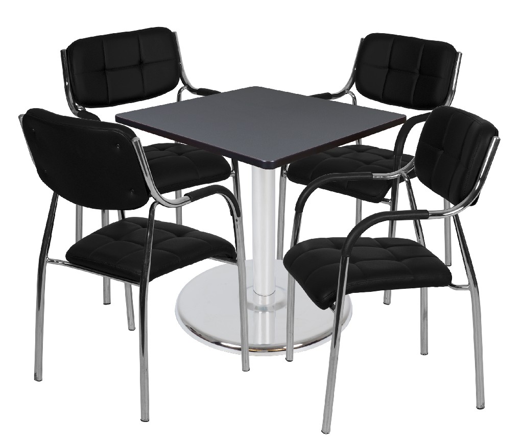 Regency Square Platter Base Table Grey Chrome Uptown Side Chairs Black