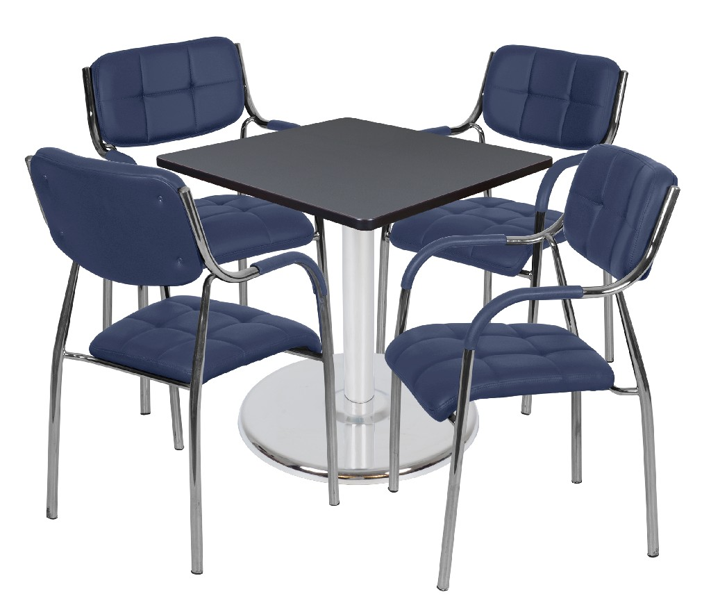 Regency Square Platter Base Table Grey Chrome Uptown Side Chairs Navy