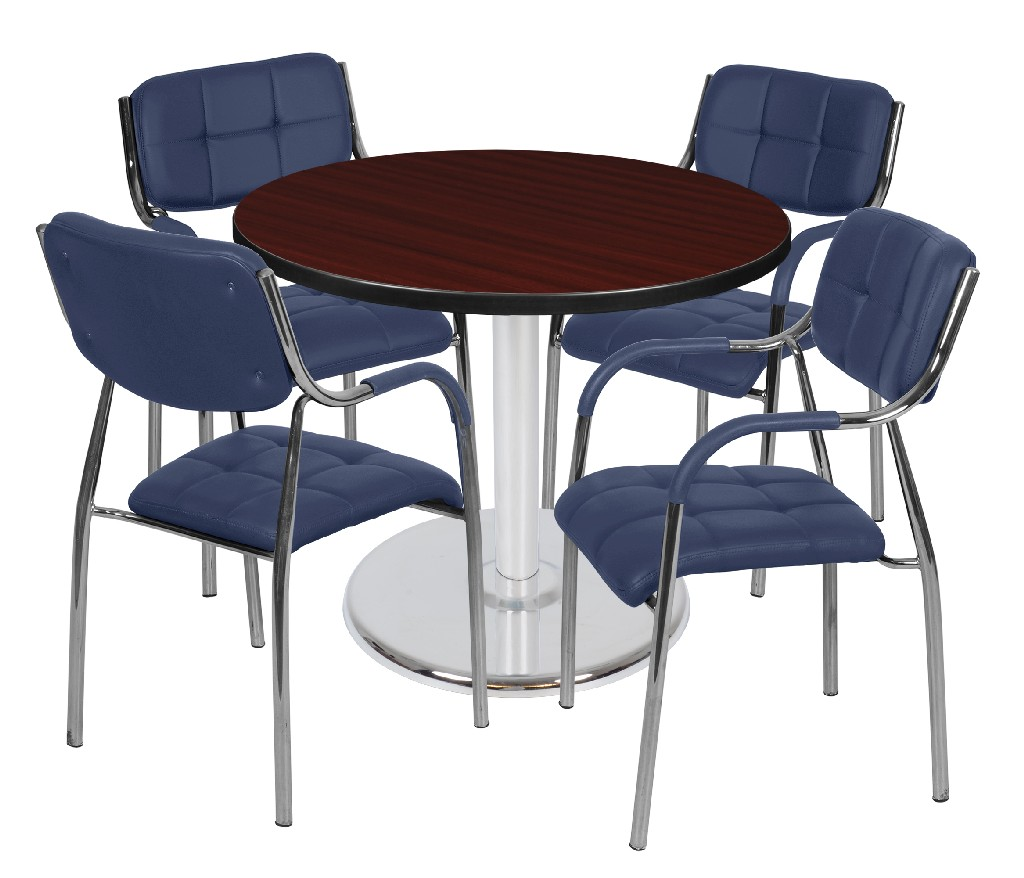 Regency Round Platter Base Table Mahogany Chrome Uptown Side Chairs Navy