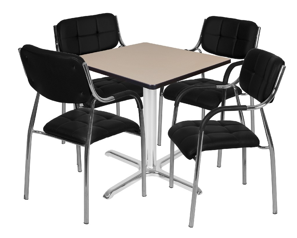 Regency Square Base Table Beige Chrome Uptown Side Chairs Black