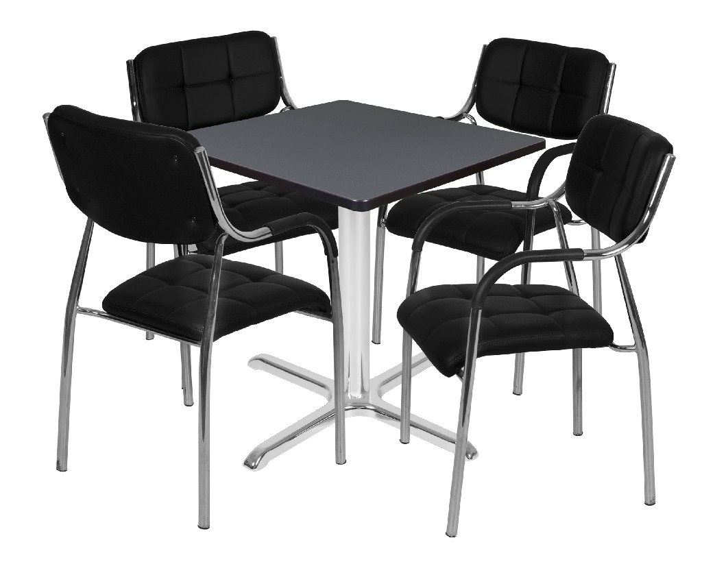 Regency Square Base Table Grey Chrome Uptown Side Chairs Black