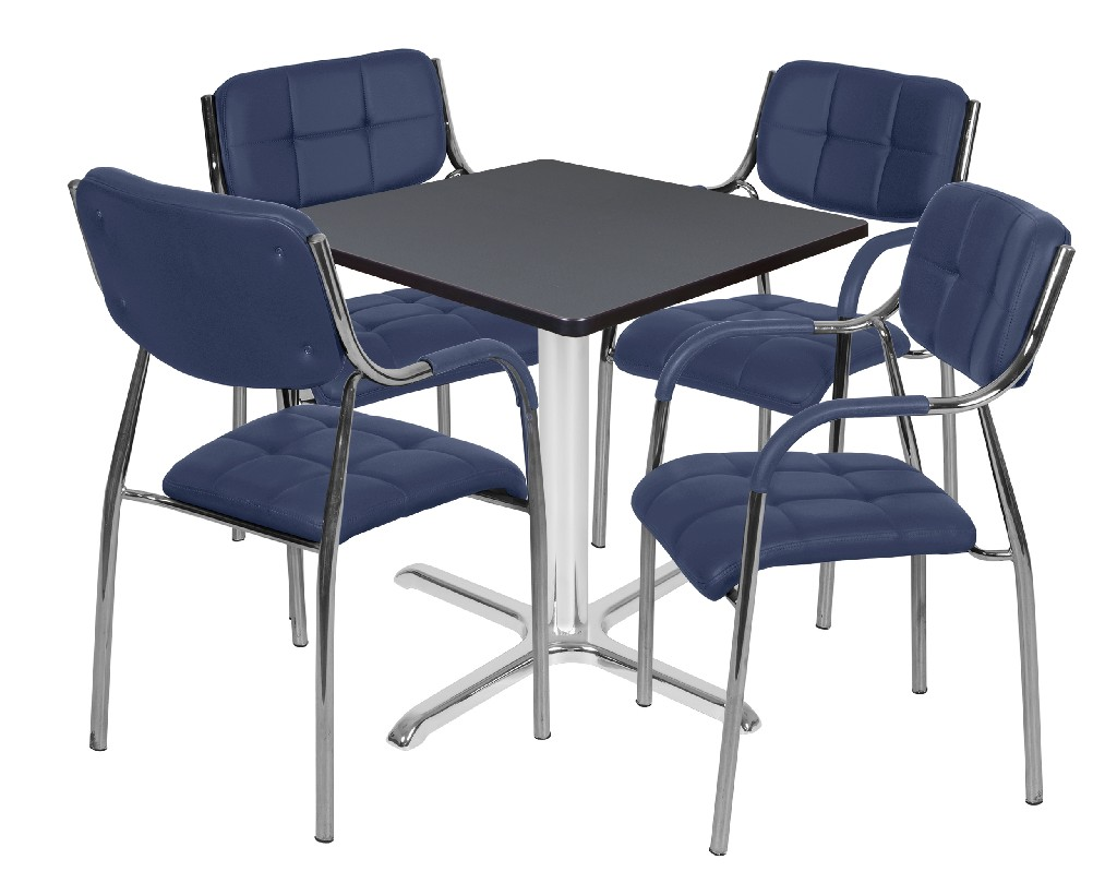 Regency Square Base Table Grey Chrome Uptown Side Chairs Navy