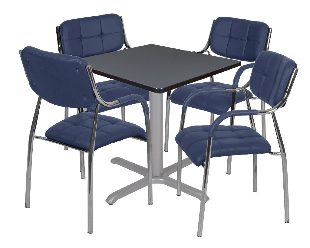 Regency Square Base Table Grey Grey Uptown Side Chairs Navy