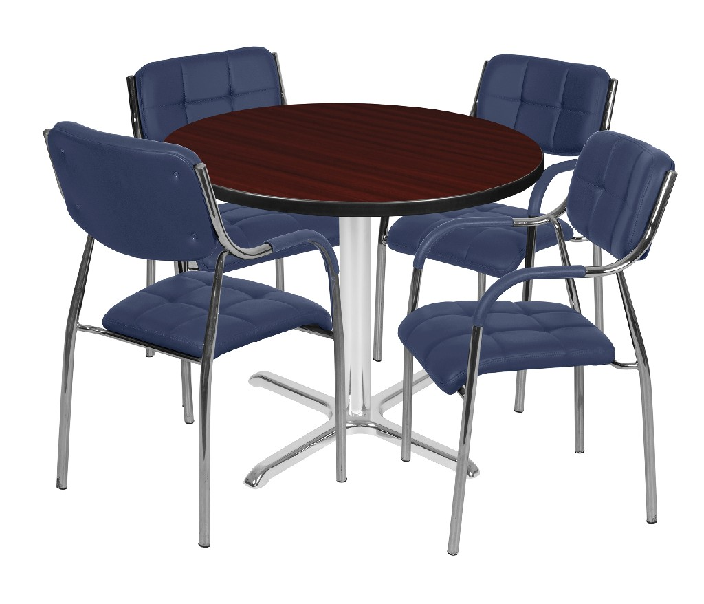 Regency Round Base Table Mahogany Chrome Uptown Side Chairs Navy