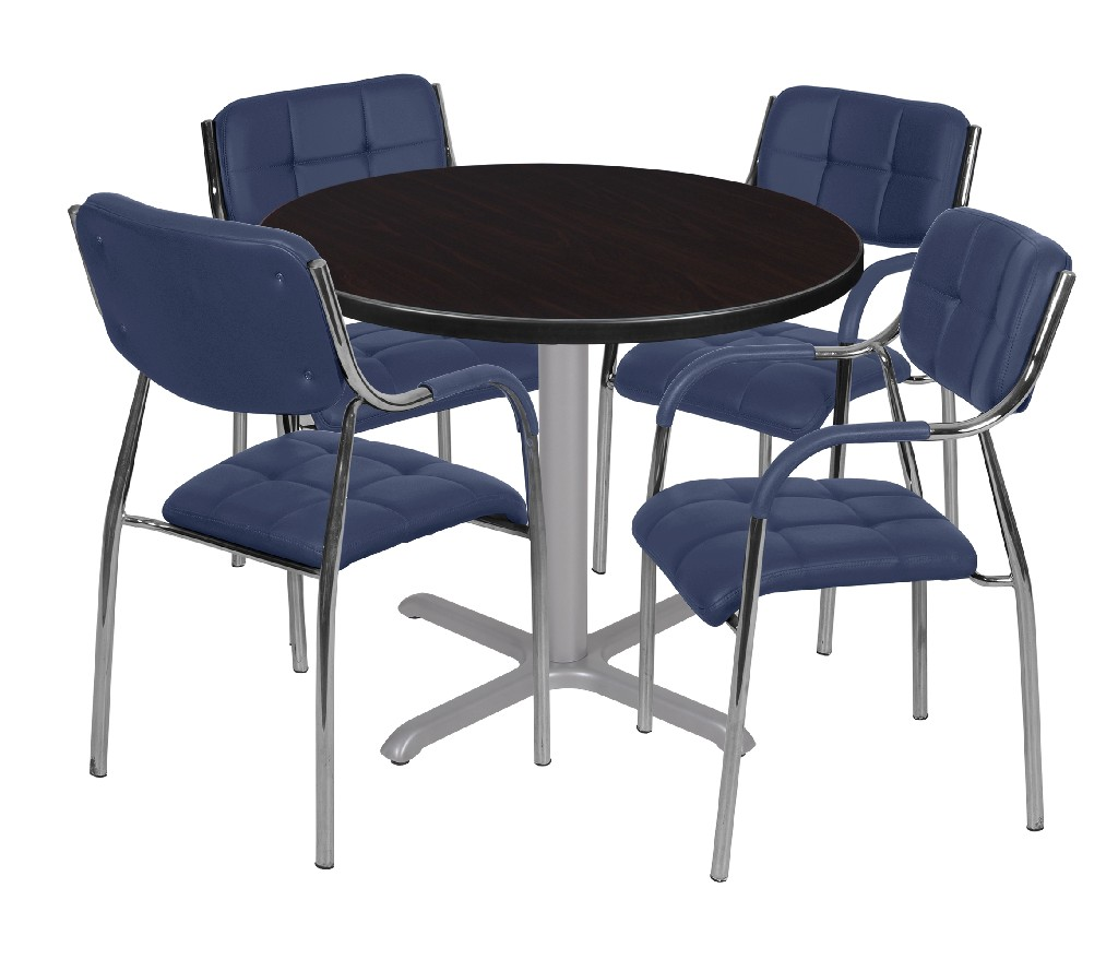 Regency Round Base Table Mocha Walnut Grey Uptown Side Chairs Navy