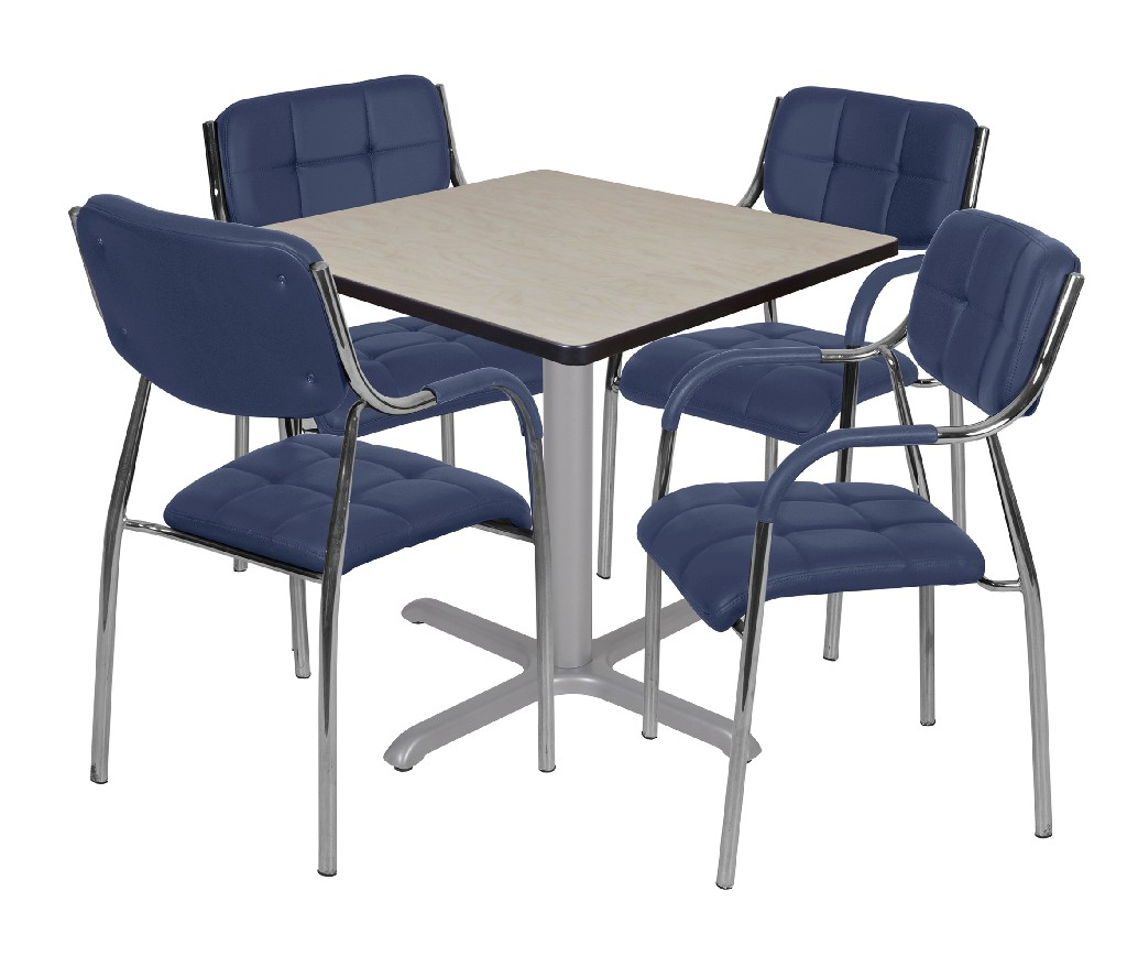 Regency Square Base Table Maple Grey Uptown Side Chairs Navy