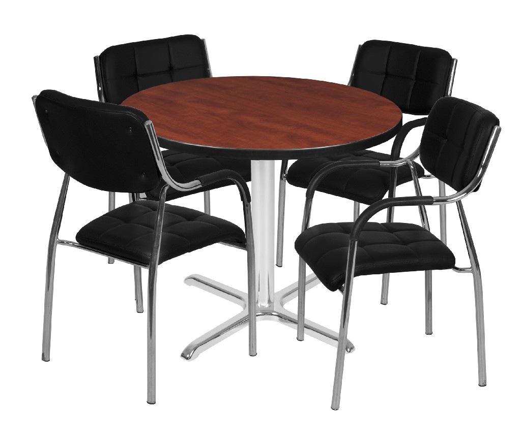 Regency Round Base Table Cherry Chrome Uptown Side Chairs Black