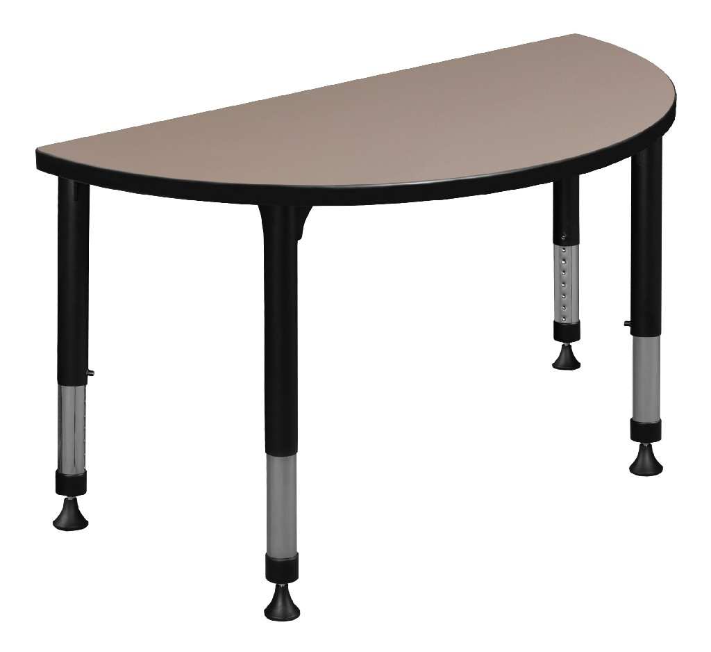 "42"" x 21"" Half Round Height Adjustable Classroom Table in Beige - Regency TB42HRNDBEAPBK"