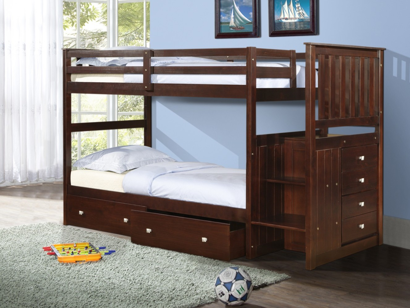 Twin Stairway Bunk Bed Dual Underbed Drawers