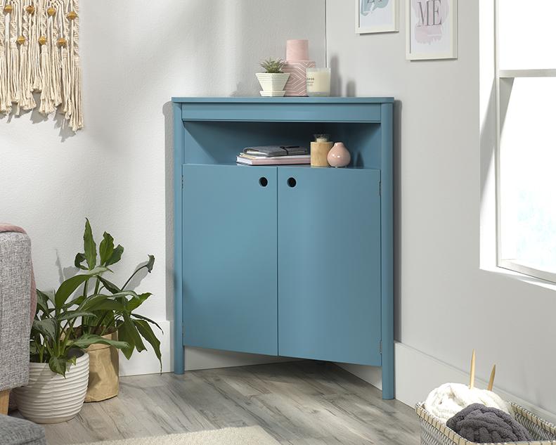 Anda Norr Corner Storage Cabinet in Sea Blue - Sauder 422069