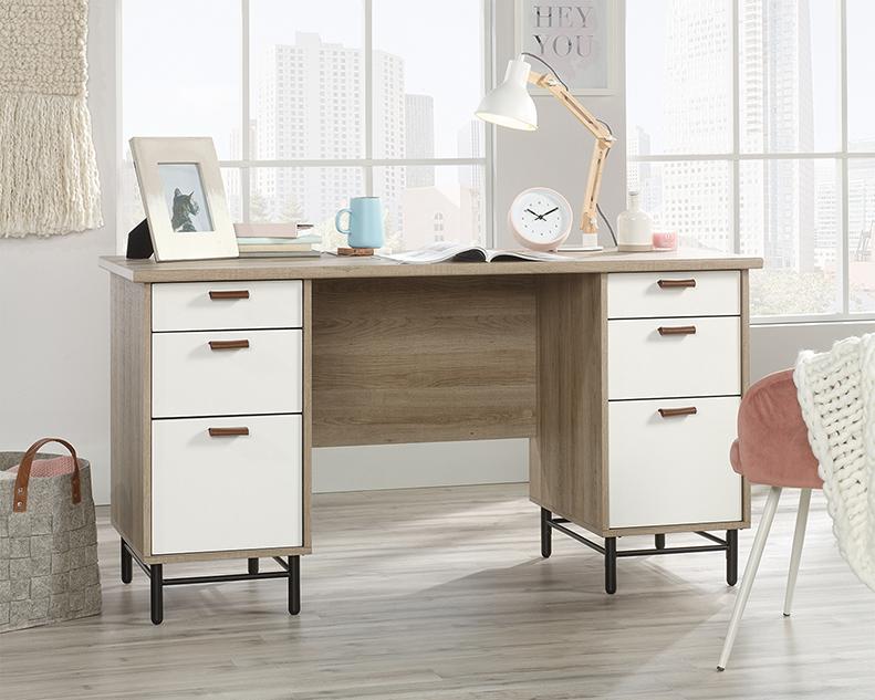 Anda Norr Executive Desk in Sky Oak - Sauder 423235