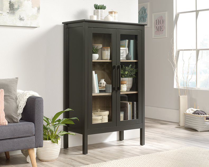 Anda Norr Display Cabinet in Slate Gray - Sauder 423281