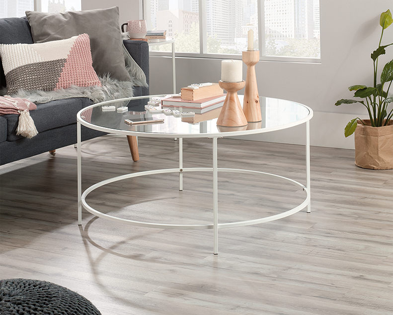 Anda Norr Round Coffee Table in White - Sauder 423283