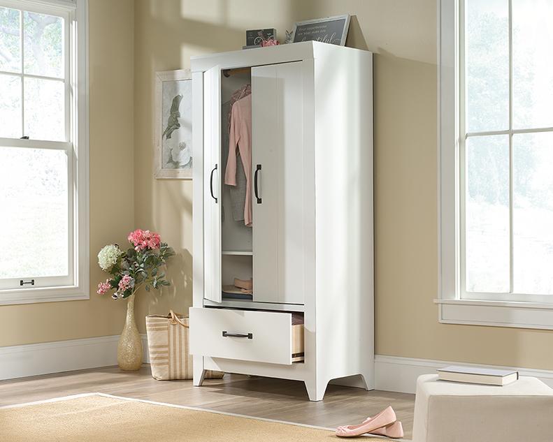 Adept Storage Wardrobe in Soft White - Sauder 424199