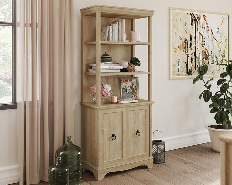 Adaline Cafe Orchard Oak 5-Shelf Bookcase with Doors - Sauder 425124