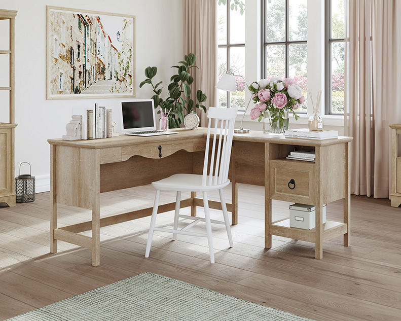 Adaline Cafe Orchard Oak L-Shaped Desk with File Drawer - Sauder 425128