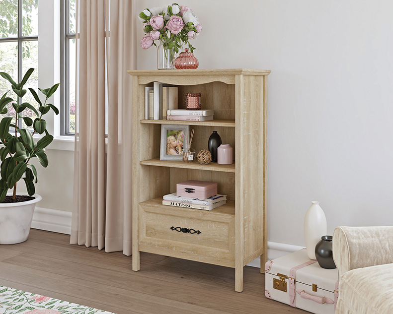 Adaline Cafe Timeless Orchard Oak Bookcase with Drawer - Sauder 425130