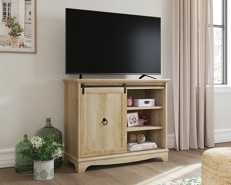 Adaline Cafe Classic Orchard Oak TV Stand with Storage - Sauder 425132