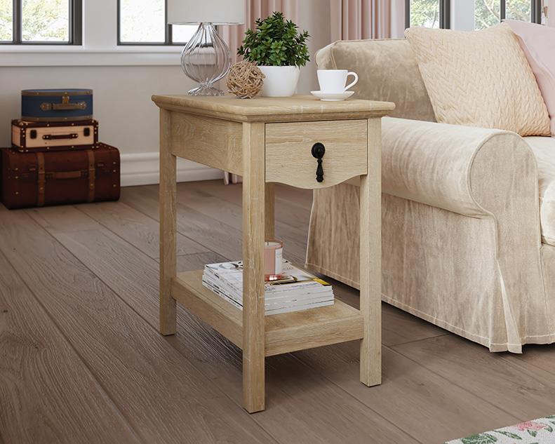 Adaline Cafe Wood Side Table with Drawer in Orchard Oak - Sauder 425135