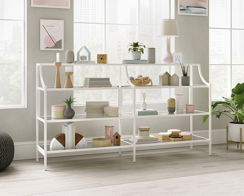 Anda Norr Console Table in White - Sauder 426431
