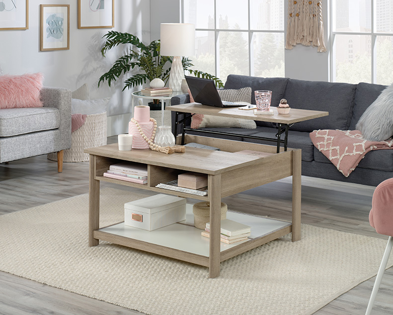 Anda Norr Oak Finish Pop-Up Coffee Table with White - Sauder 427348