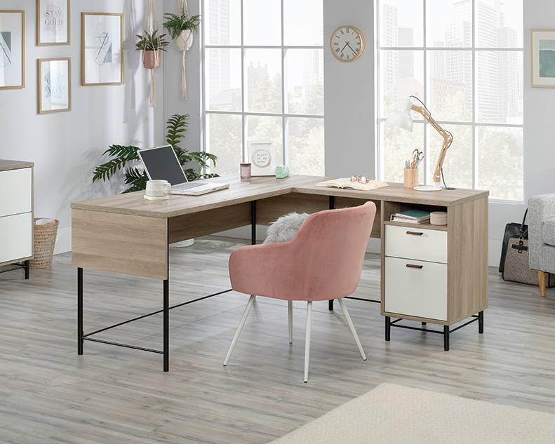 Anda Norr Oak Finish L-Shaped Desk with White Accents - Sauder 427707