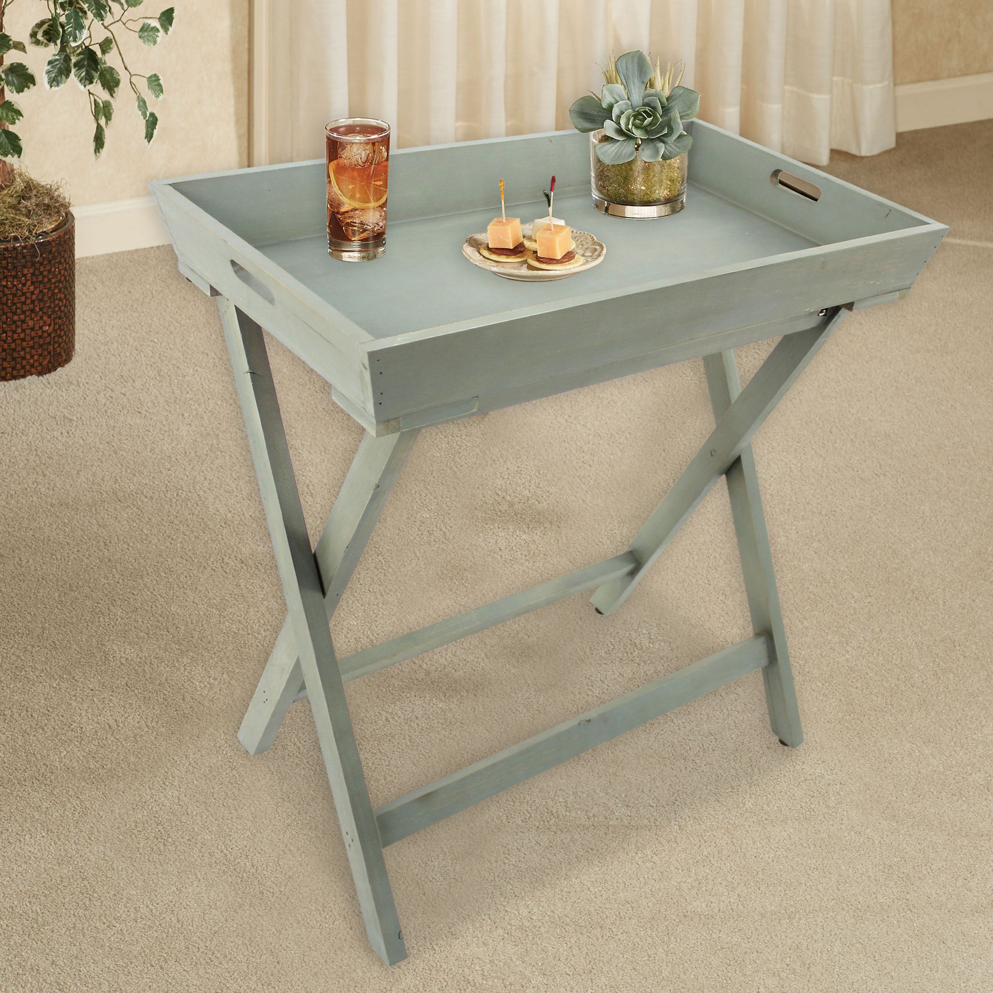Coastal Light-blue Wooden Serving Table - Teton Home AF-035