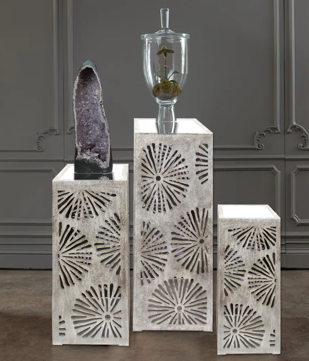 Industrial Floral Mirrored 3-Piece Nesting Table Set - Teton Home AF-046