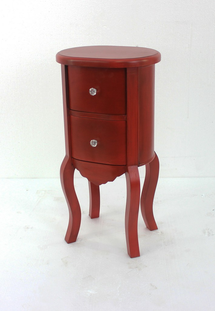 Funny Doll-like Red Wooden End Table with 2 Drawers - Teton Home AF-065