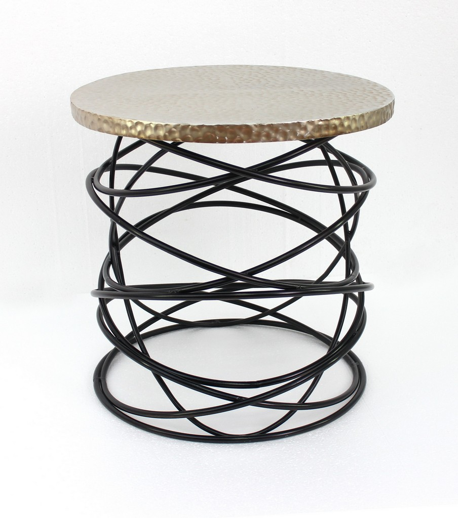 Industrial Accent Table with Cool Cable-shaped Metal Base - Teton Home AF-079