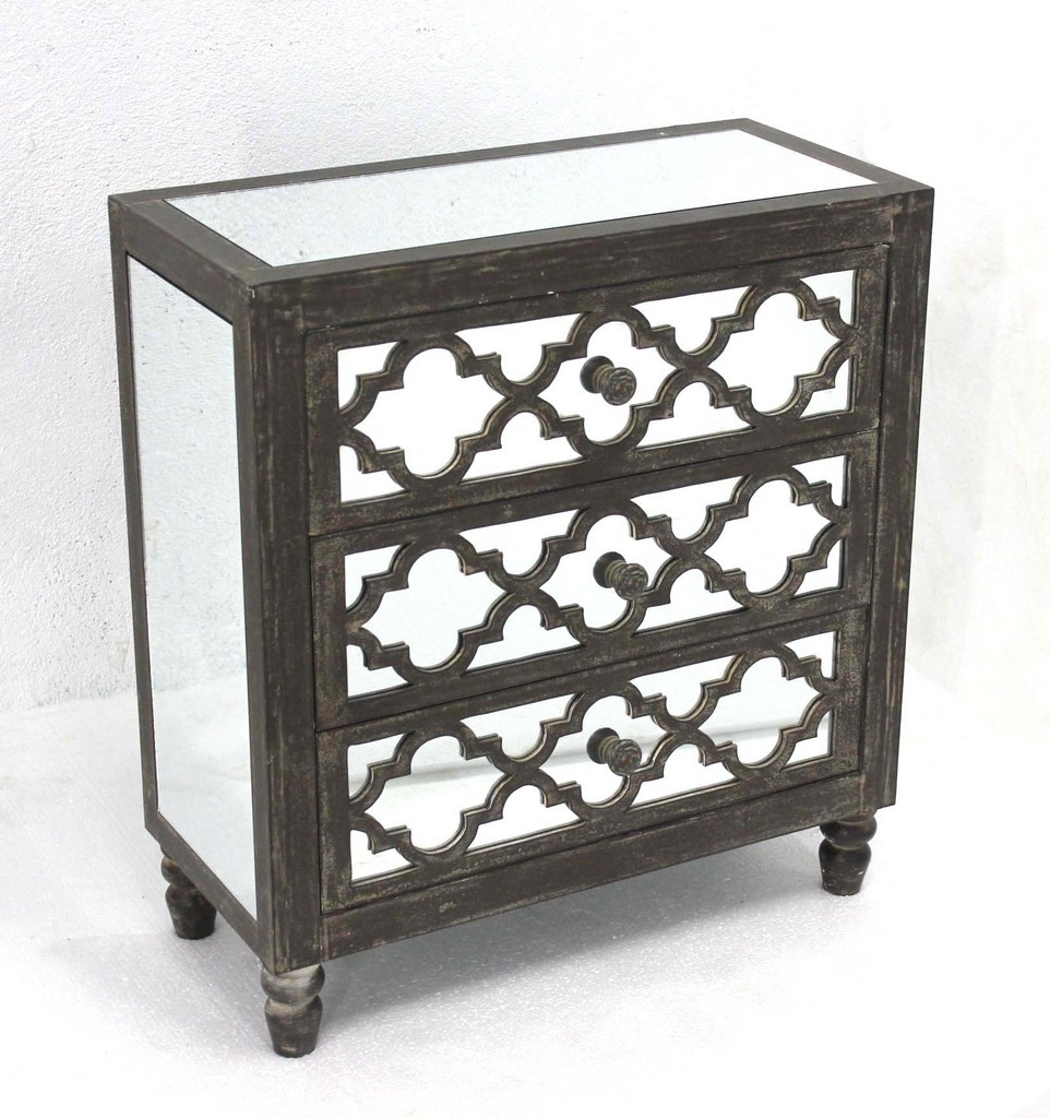 Antique Mirrored Wooden Cabinet with 3 Drawers - Teton Home AF-080