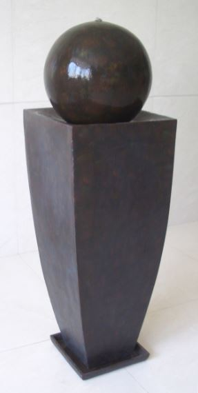 Screen Gems Coppery Finish Square Tall Vase Ball Fountain