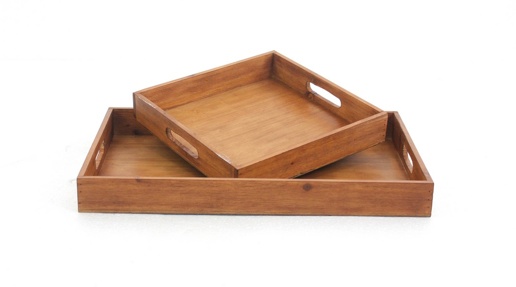 Country Cottage Wooden Serving Tray Set with 2 Pieces - Teton Home TD-007