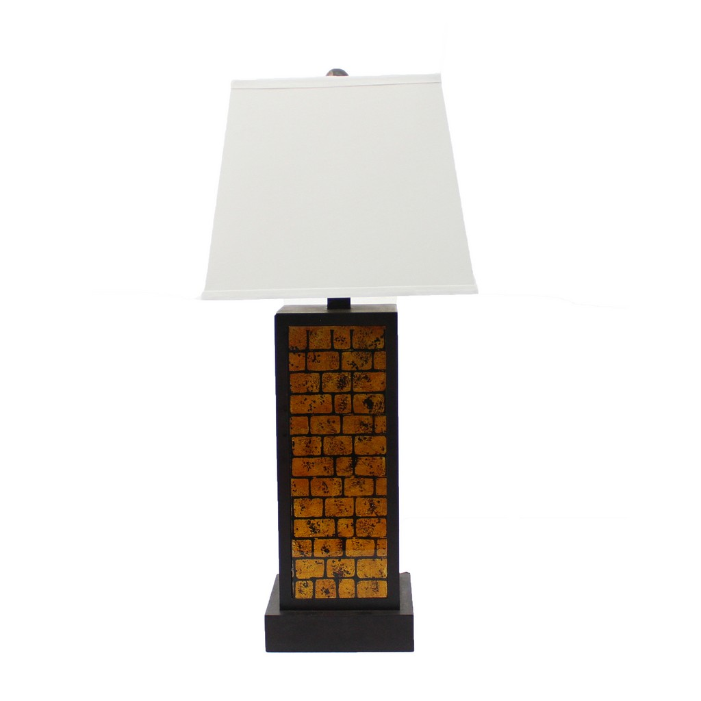 Contemporary Black Metal Table Lamp with Yellow Brick Pattern - Teton Home TL-018