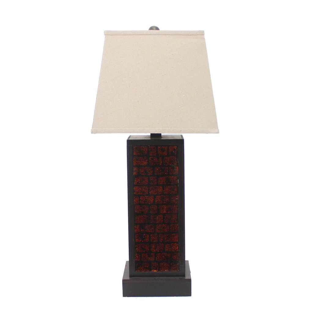 Contemporary Black Metal Table Lamp with Dark-red Brick Pattern - Teton Home TL-019