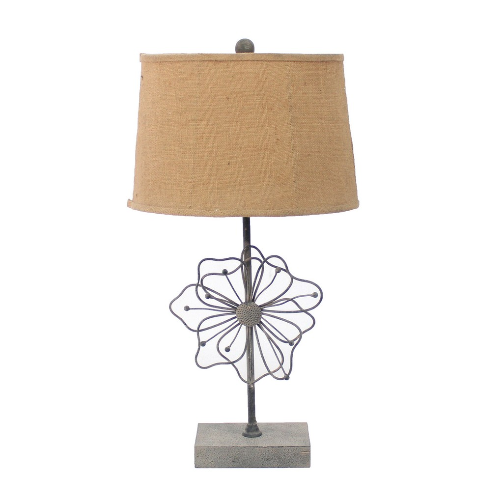 Country Cottage Table Lamp with Blooming Flower Pedestal - Teton Home TL-022