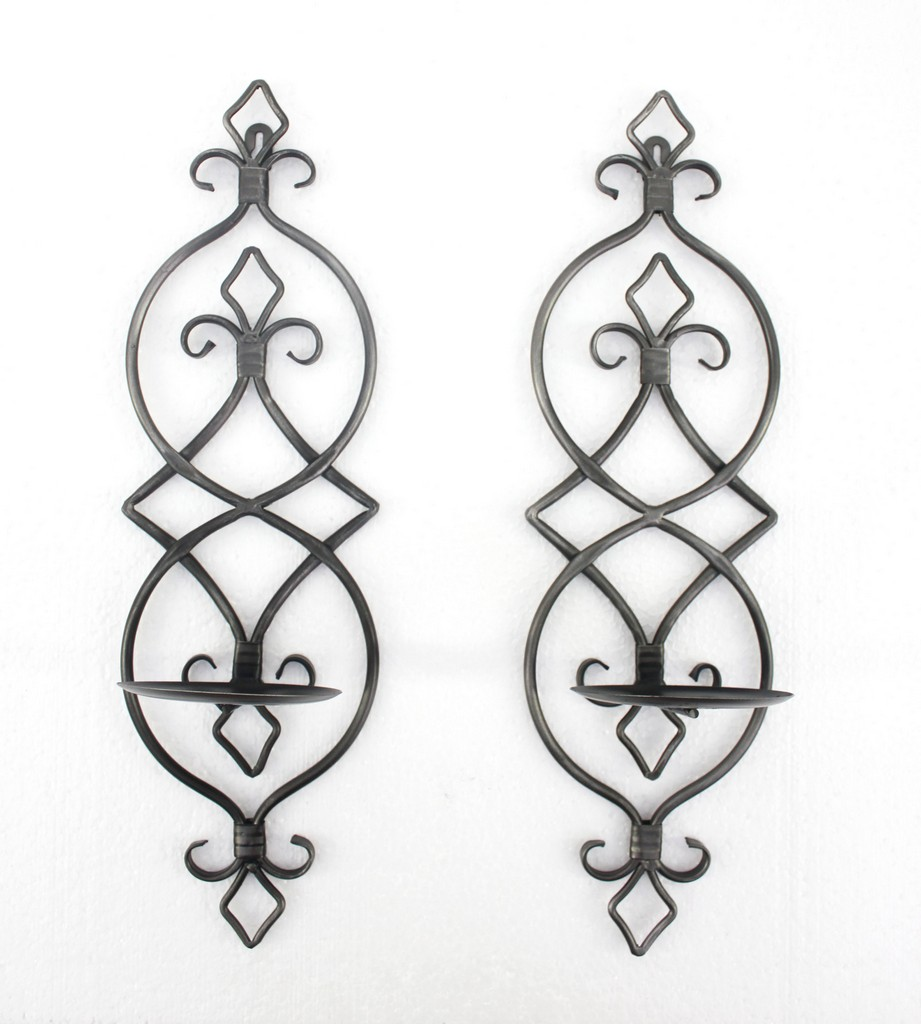 Industrial Fleur-de-lis Wall Candle Holder Sconce Set - Teton Home WD-007