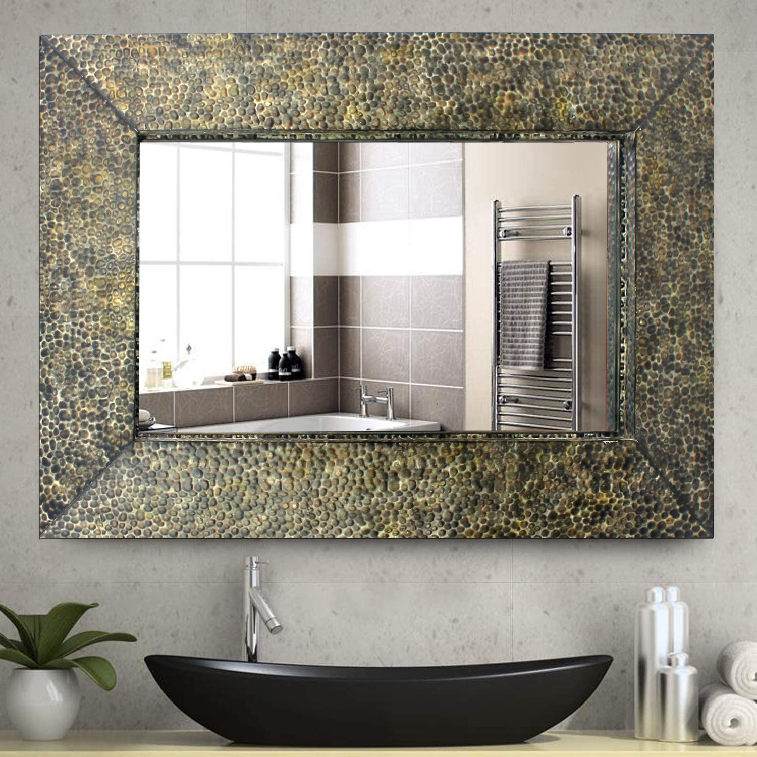 Coastal Dressing Mirror with Gravel-like Mosaic Frame - Teton Home WD-053