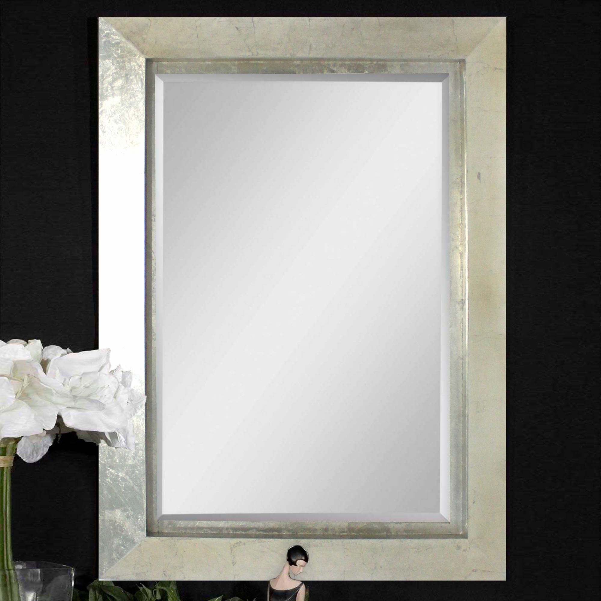 Contemporary Rectangular Silver Cosmetic Mirror - Teton Home WD-084