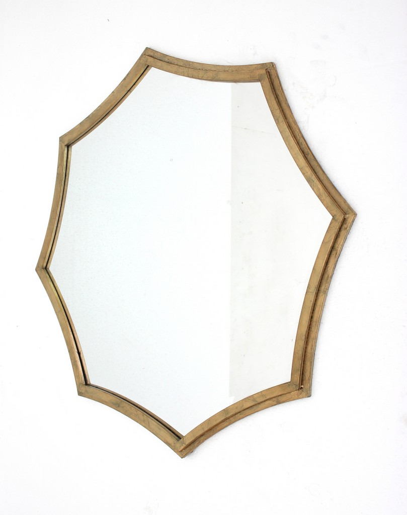 Contemporary Cosmetic Mirror with Minimalist Gold Curved Hexagon Frame - Teton Home WD-143