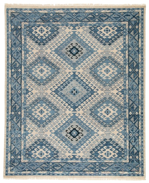 Artemis by Jaipur Living Hobbs Hand-Knotted Geometric Blue/ Light Gray Area Rug (9'X12') - RUG124704