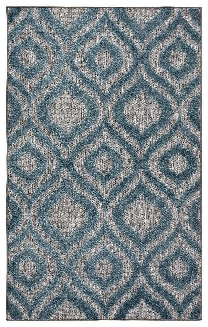 Nikki Chu by Jaipur Living Ezzine Indoor/ Outdoor Trellis Gray/ Blue Area Rug (8