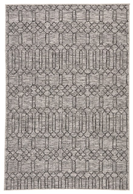 Nikki Chu by Jaipur Living Calcutta Indoor/ Outdoor Geometric Gray Area Rug (2