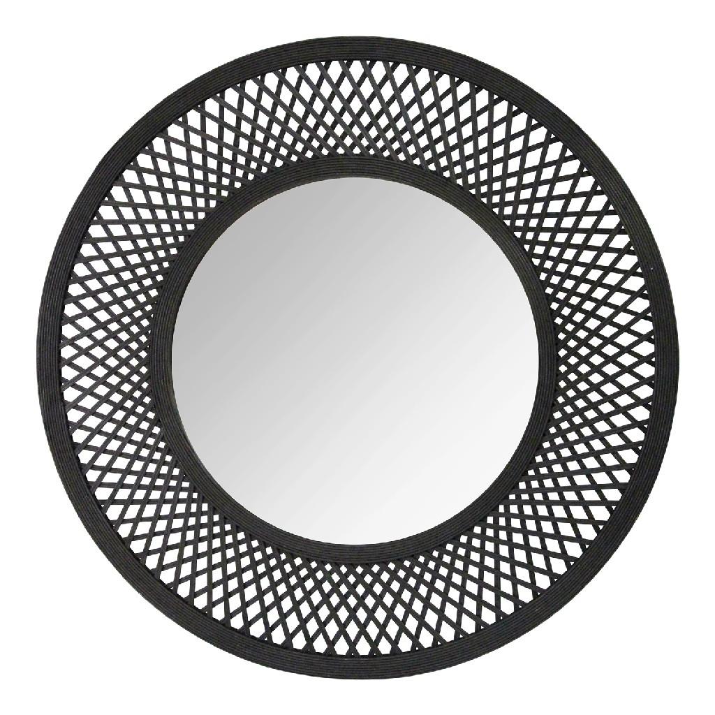 """38"""" Andi Black Woven Rattan Mirror - Stratton Home Decor S23804"""